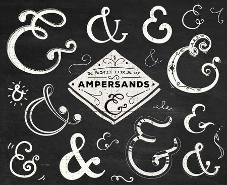 orthographic symbol: Collection of doodle ampersands for wedding letterpress invitation or design Illustration