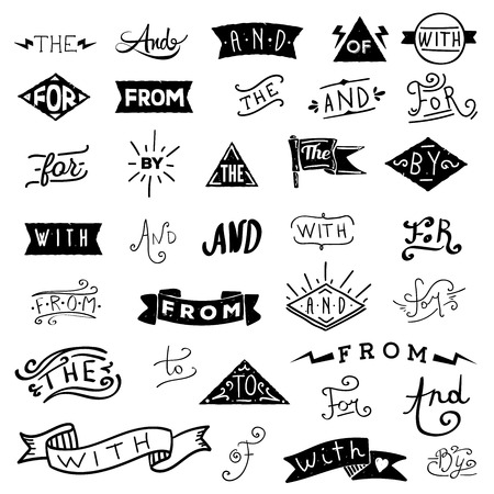 Catchwords design elements set. at, to, for, the, of, with, by, and, from Illustration