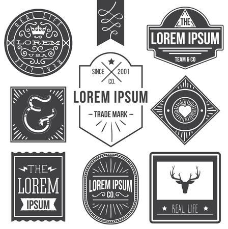 vintage hipster labels with deer, ampersand Illustration