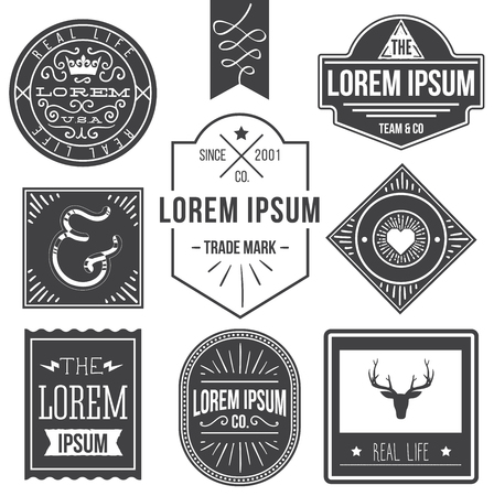 vintage hipster labels with deer, ampersand 向量圖像