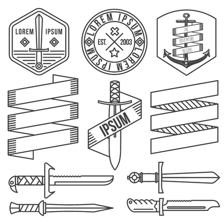 sword: vintage hipster labels and logo. Thin Line Icons: swords