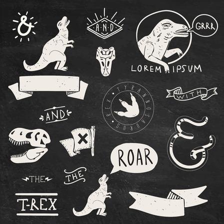 dinosaurio: Colección de elementos y etiquetas de diseño Tyrannosaurus Rex Vectores