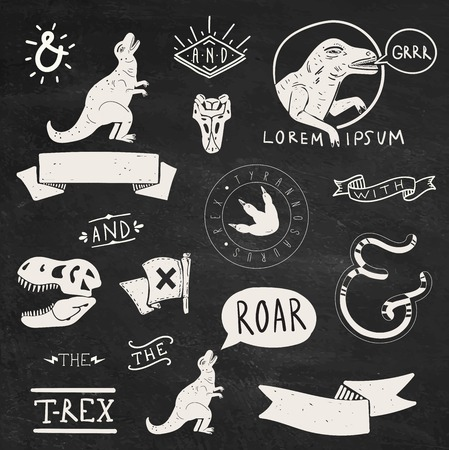 dinosaur teeth: Collection of Tyrannosaurus Rex design elements and labels Illustration