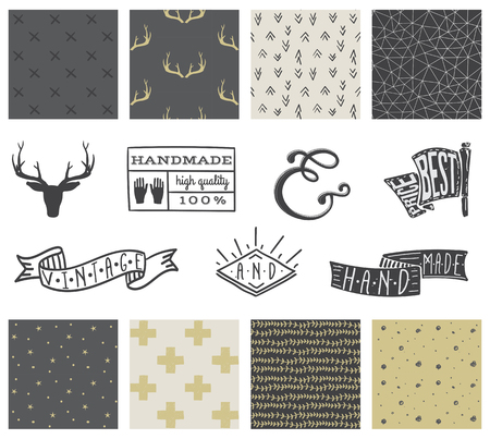 hipster: Set of 8 hipster hand drawn doodle seamless pattern and design elements