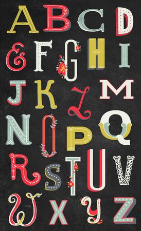 색상 빈티지 알파벳 일러스트