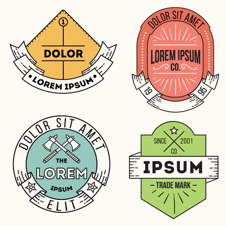 set of vector hipster trendy labels, icons, logos and badges