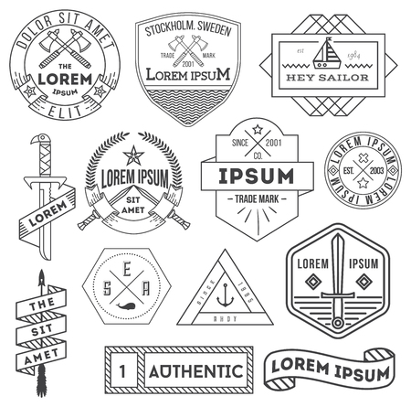 knight: set of vector black and white hipster trendy labels, icons, logos and badges