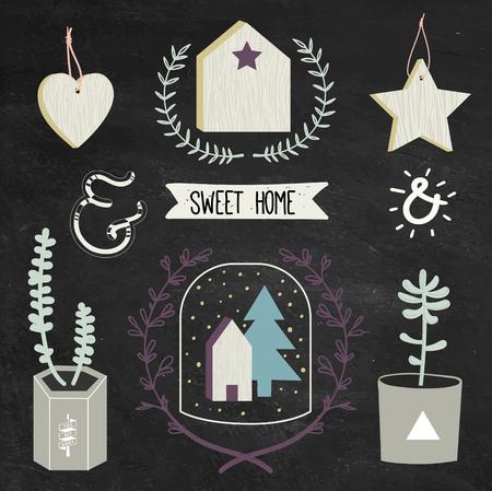 스칸디나비아 스타일의 홈 장식 : 콘크리트 화분, 나무 소박한 집, 심장, 스타 다육 식물.
