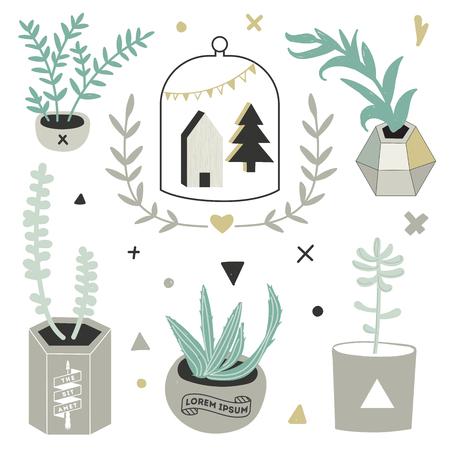 빈티지 맞춤형 라벨과 상징의 집합 일러스트