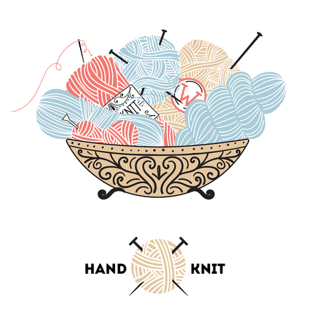 knitting: Knitting yarn balls and needles in basket on a white background