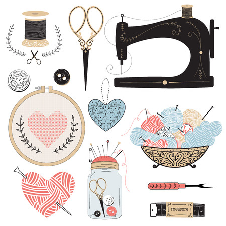 sewing machine: Vintage vector tailors tools - scissors, measuring tape, mannequin, tambour, balls of yarn etc.