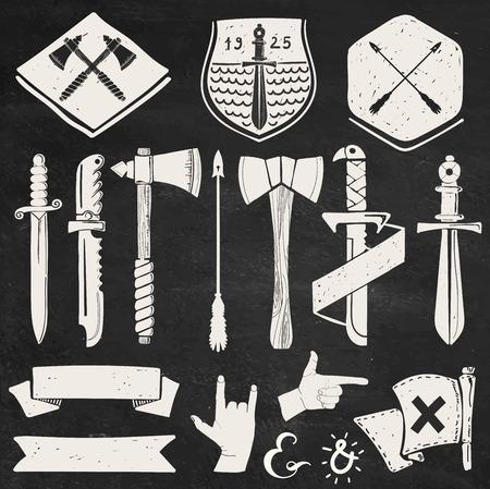 칼, 리본, 배지 : 손 로고와 라벨 힙 스터 디자인 요소를 그려.