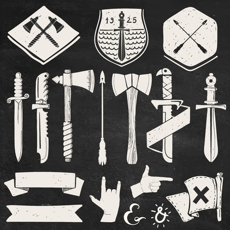 Hand drawn hipster design elements for logos and labels: swords, ribbons, badges.