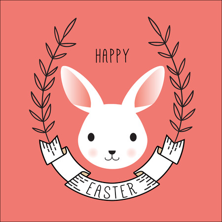 Cute Vector Portrait of Bunny. Happy easter card with ribbon and wreath