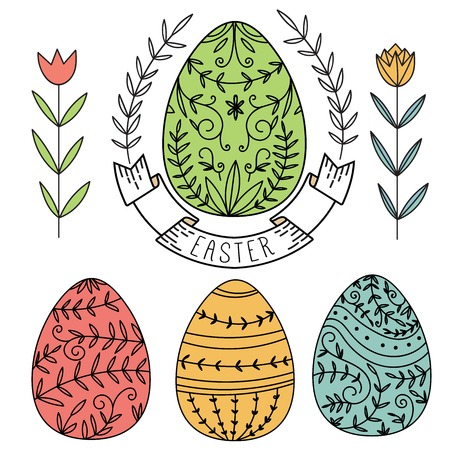 Vector easter elements. Set of ornament eggs and flowers.