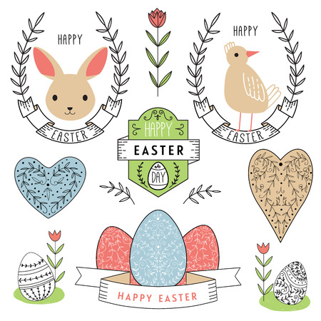 Easter scrapbook set - labels, ribbons and other elements. Vector illustration.