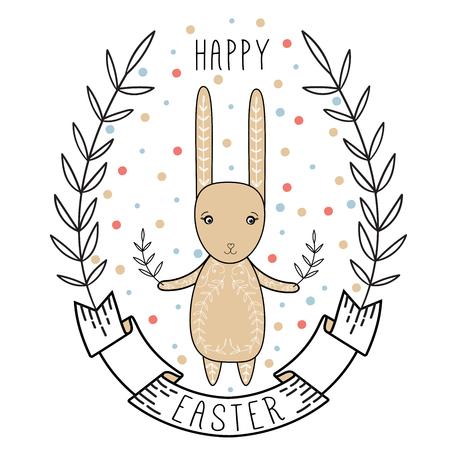 부활절 토끼, 리본, 화 환 행복 한 부활절 카드 그림