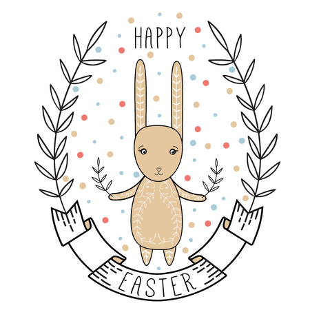 Happy easter card illustration with easter bunny, ribbon and wreath
