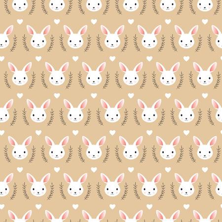 귀여운 토끼 머리 벡터 일러스트 레이 션, 원활한 패턴입니다.