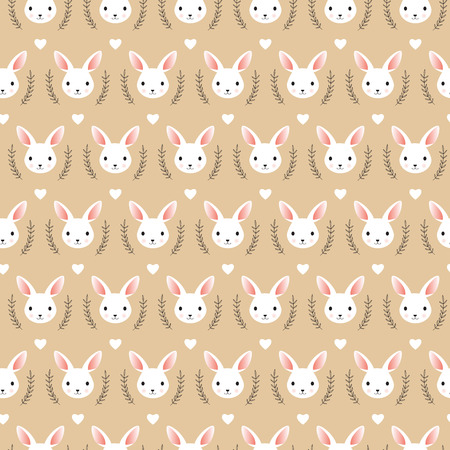 Cute rabbit head vector illustration, seamless pattern. 向量圖像
