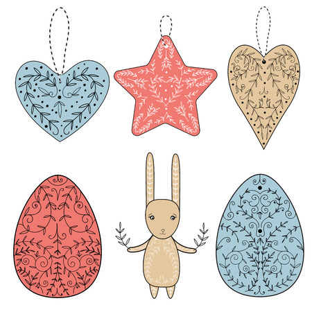 Set of easter design elements: colored painted easter eggs, hearts, star and bunny