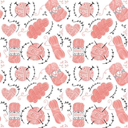 Seamless pattern con palle rosa di filato per maglieria Archivio Fotografico - 48856439