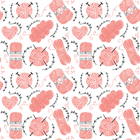 knitting: Seamless pattern with pink balls of yarn for knitting