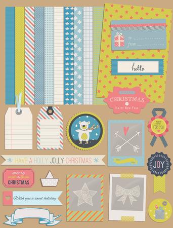 크리스마스 디자인 요소 : 테 디 베어, 프레임, 리본, 태그, 스타, 플래그, 사진 프레임 및 귀여운 완벽 한 배경. 디자인 또는 스크랩 예약.
