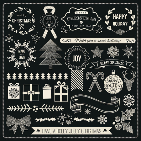 Christmas Hand Drawn Vector Set: Design Elements and Page Decoration, Vintage Ribbon, Laurel, Label.