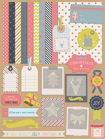 scrap: Christmas Design Elements: photo frames, ribbon, tag, star, flag, photo frame and cute seamless backgrounds. For design or scrap booking.