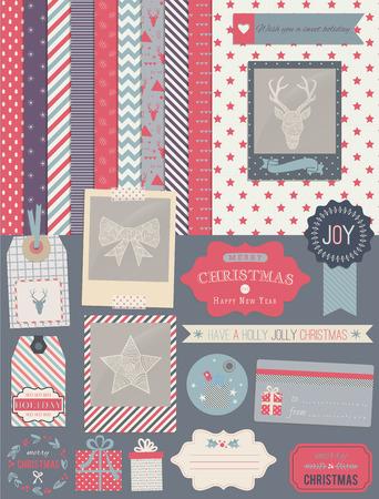 스크랩북 디자인 요소 : 크리스마스 장식, 프레임, 리본, 라벨, 눈송이, 사슴과 귀여운 배경입니다. 디자인 또는 스크랩 예약하십시오.