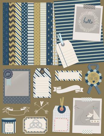 ferraille: Collection Design Elements: mignon renard de jouet en bateau, cadres, ruban, étiquette, étoile, drapeau et milieux sans soudure mignon. Pour la conception ou de la réservation de chute.