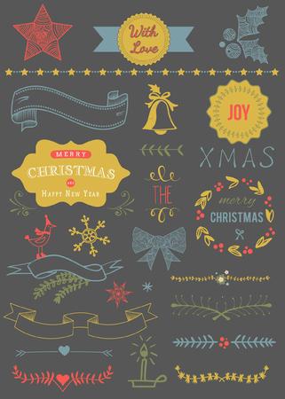 크리스마스 벡터 설정 : 디자인 요소와 페이지 장식, 빈티지 리본, 로렐, 라벨 일러스트