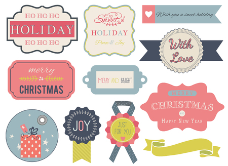 Collection of christmas ornaments and decorative elements, vintage frames, labels, tags, stickers and ribbons.