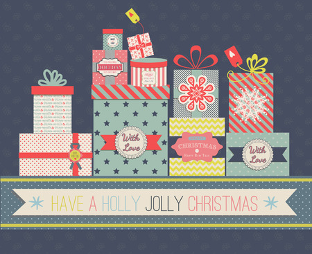 Collection of vector colorful Christmas present boxes. Holiday seamless greeting card.