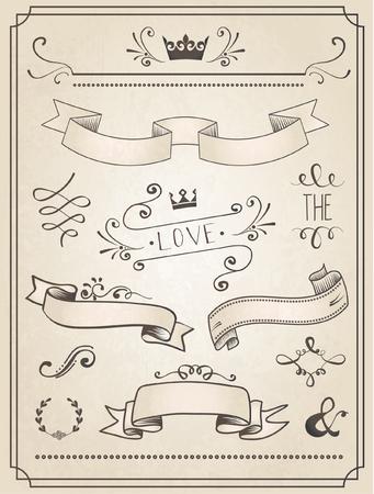 빈티지 웨딩 그래픽 설정, 테두리, 화살표, 하트, 월계수, 리본 및 레이블.
