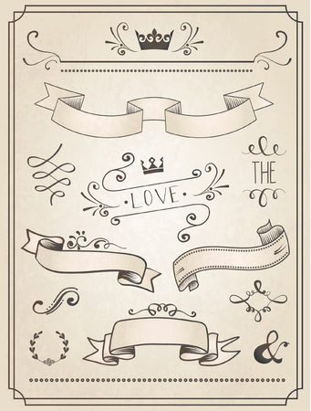 Vintage Wedding graphic set, borders, arrows, hearts, laurel, ribbons and labels. 向量圖像