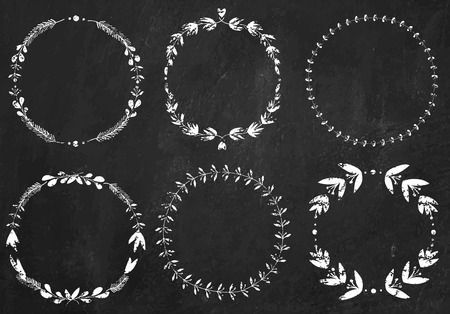 Set of 6 hand-draw chalk vector victory laurel wreaths for stationary on a black chalkboard background for stationary on a black chalkboard background