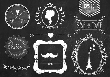 Retro chalk elements and icons set for retro design. Paris style. With ribbon, mustache, bow, eiffel tower, border, woman profile and wedding decor. Vector illustration. Chalkboard background. Vettoriali