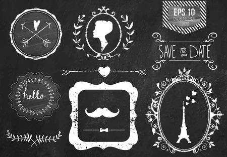 bağbozumu: Retro tebeşir elemanları ve simgeleri Retro tasarım için ayarlayın. Paris tarzı. kurdele, bıyık, yay, Eyfel Kulesi, sınır, kadın profili ve düğün dekor ile. Vector illustration. Chalkboard background. Çizim