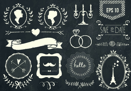 fashion: Retro chalk elements and icons set for retro design. Paris style. With ribbon, bow, eiffel tower, border, woman profile, man profile and wedding decor. Vector illustration. Chalkboard background.