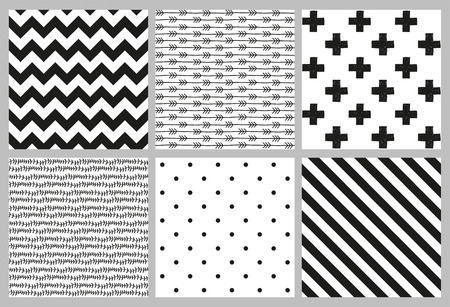 black and white line drawing: Set of 6 black and white Scandinavian trend seamless pattern - black cross, polka dots, chevrons, stripes, arrow and branch background.