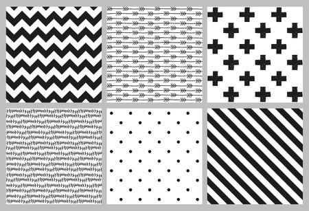 Set van 6 zwart-wit Scandinavische trend naadloze patroon - zwart kruis, stippen, chevrons, strepen, pijl en tak achtergrond. Stock Illustratie