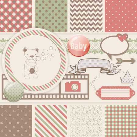 with sets of elements: Vintage Design Elements for Scrapbook with seamless pattern and teddy bear