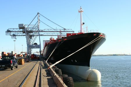 Container Ship Being Unloaded Stock Photo - 1576113