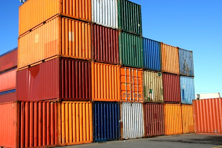 intermodal: Containers waiting to be loaded in an intermodal yard