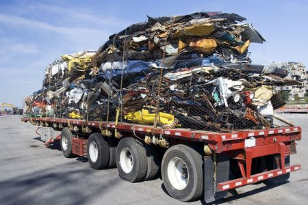 Truck full of wrecked cars for scrap Stock Photo