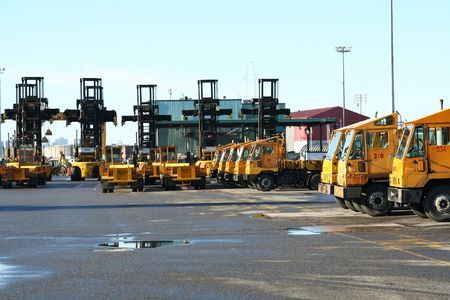 Container handling equipment in an intermodal yard