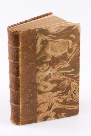 Close-up foto van een antiek boek op witte achtergrond Stockfoto