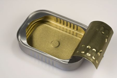 sardine can: Closeup of an open sardine can; the can is clean and the lid is up